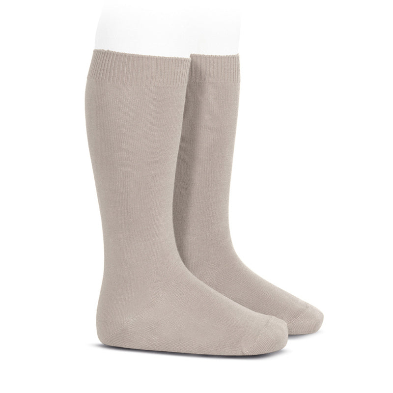 Basic Plain Knit Knee-high Socks