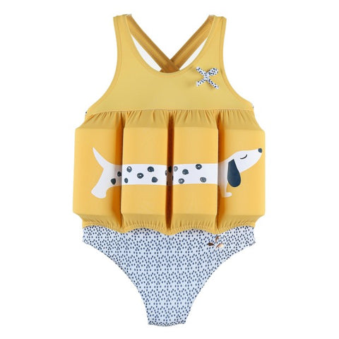 Yellow One-Piece Swimsuit with Removable Foam Inserts