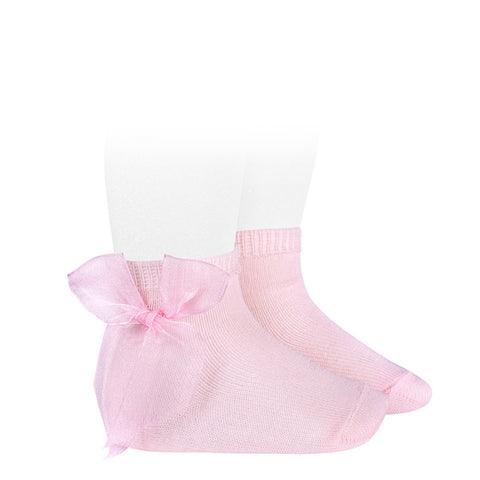 Short Socks with Organza Side Bow