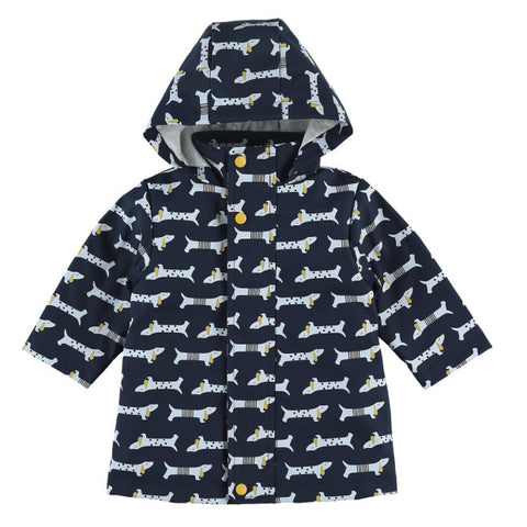 Navy Rain Jacket with Dog Print