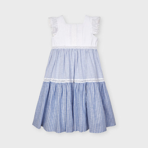 Blue Pinstripe Tiered Dress