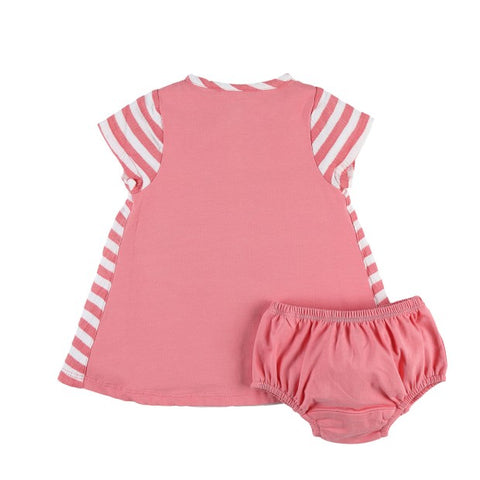 Pink stripe organic cotton dress & bloomer set