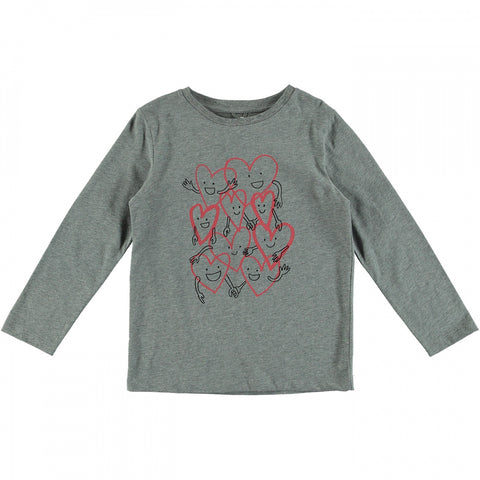 Grey Long Sleeve T-shirt with Happy Hearts