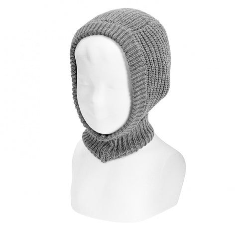 Grey English Rib Stitch Balaclava
