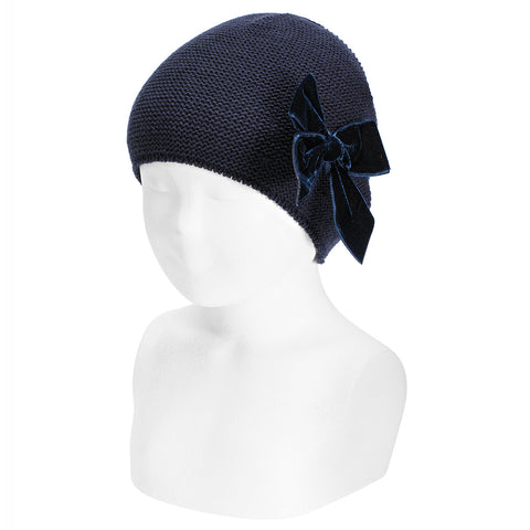 Navy Knit Hat with Large Velvet Bow