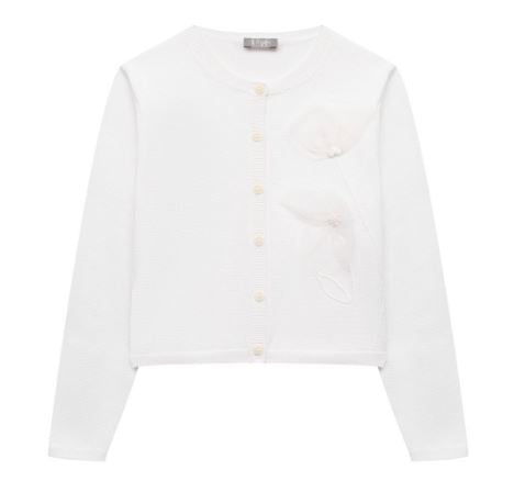 White cotton cardigan with tulle flower & handmade embroidery