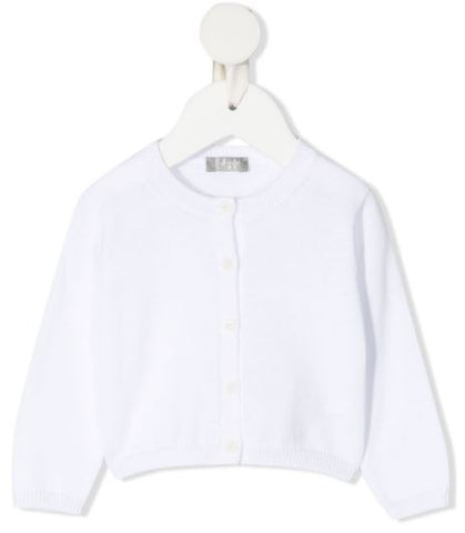 White cotton cardigan with front button closures