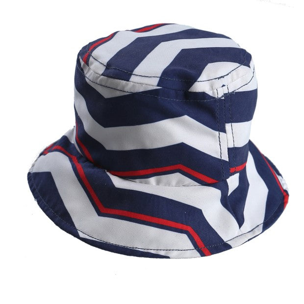Navy chevron print UV sun hat