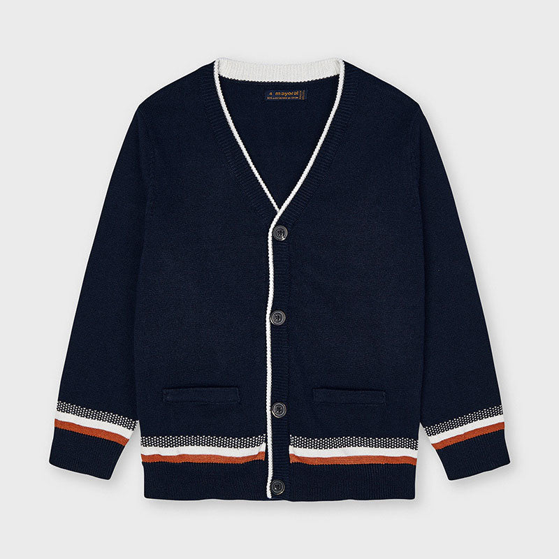 Navy Knit Cardigan with Stripe Detail