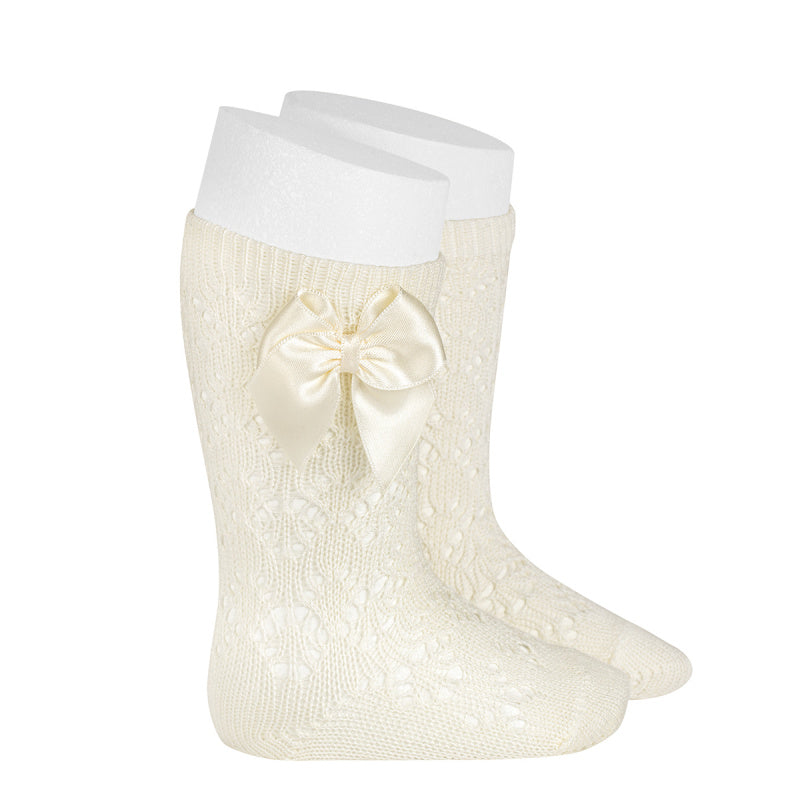 Knee-high Perle Knit Socks with Side Bow