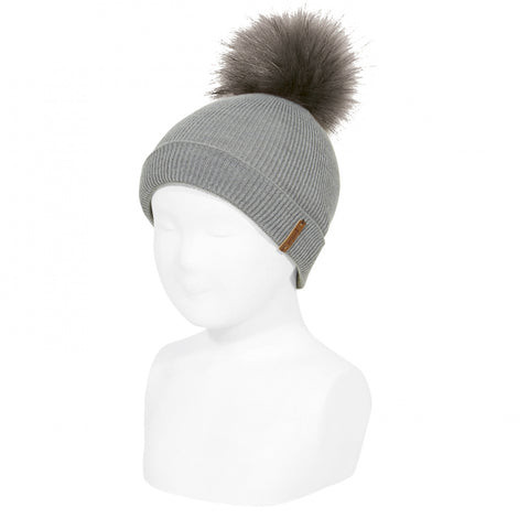 Grey Rib Hat with Faux Fur Pom-Pom