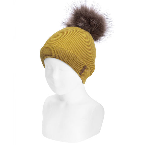 Mustard Rib Hat with Faux Fur Pom-Pom