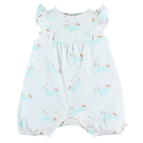 Cotton jersey romper with unicorn print