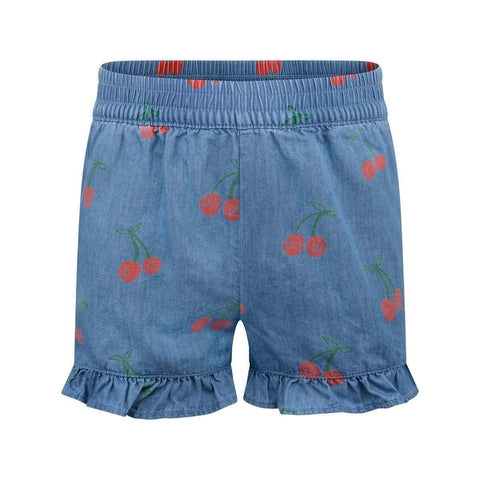 Cherry Print Chambray Shorts