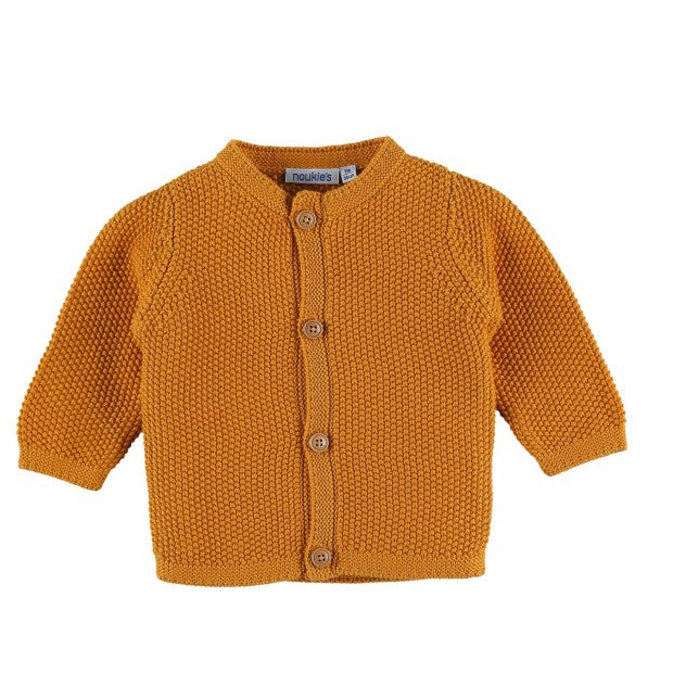 Yellow organic cotton knit cardigan