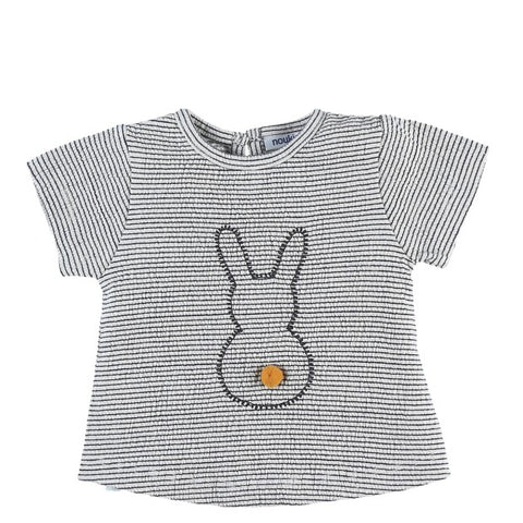 Striped jersey t-shirt with rabbit print
