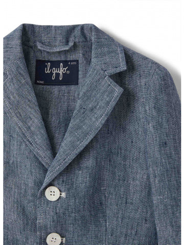 Blue linen blazer with contrasting buttons and patch pockets