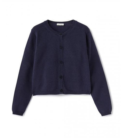Navy cotton cardigan with front button closures