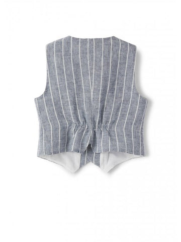 Blue linen vest with white stripes