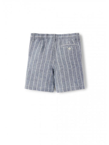 Blue striped linen bermuda shorts