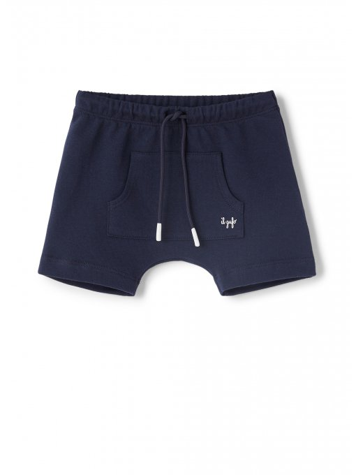 Blue cotton bermuda shorts with front pocket
