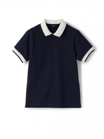 Dark blue pique polo with contrasting sleeves & collar