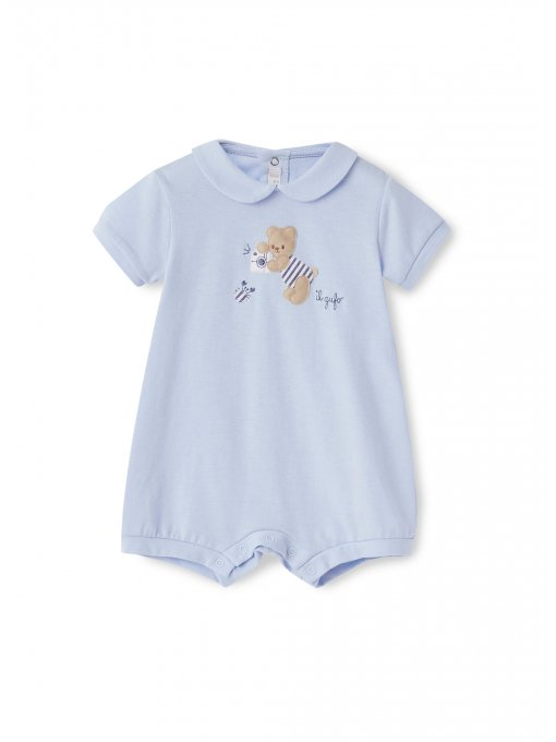 Shorty romper with teddy bear applique