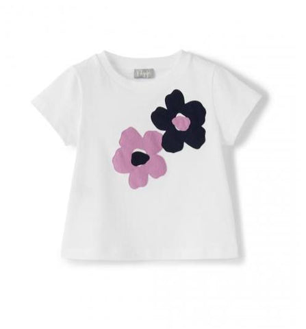 White short sleeve t-shirt with flowers