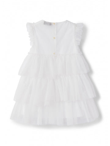 White lined tulle dress with cap sleeves