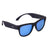 Black smart sunglasses with blue tints on the lenses and wireless technology for calls