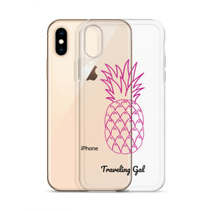 Traveling Gal Pink Pineapple iPhone Case