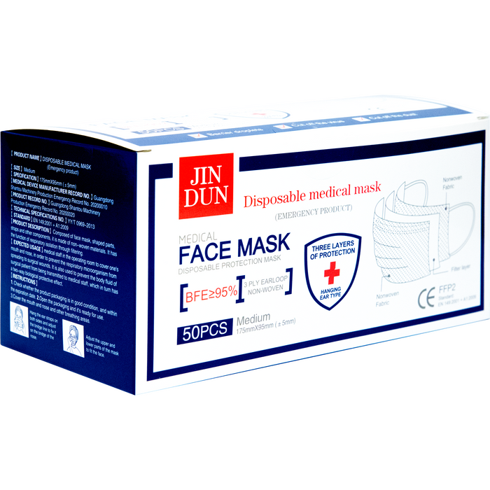 Jin Dun 3-Ply Medical Disposable Face Mask - 50ct