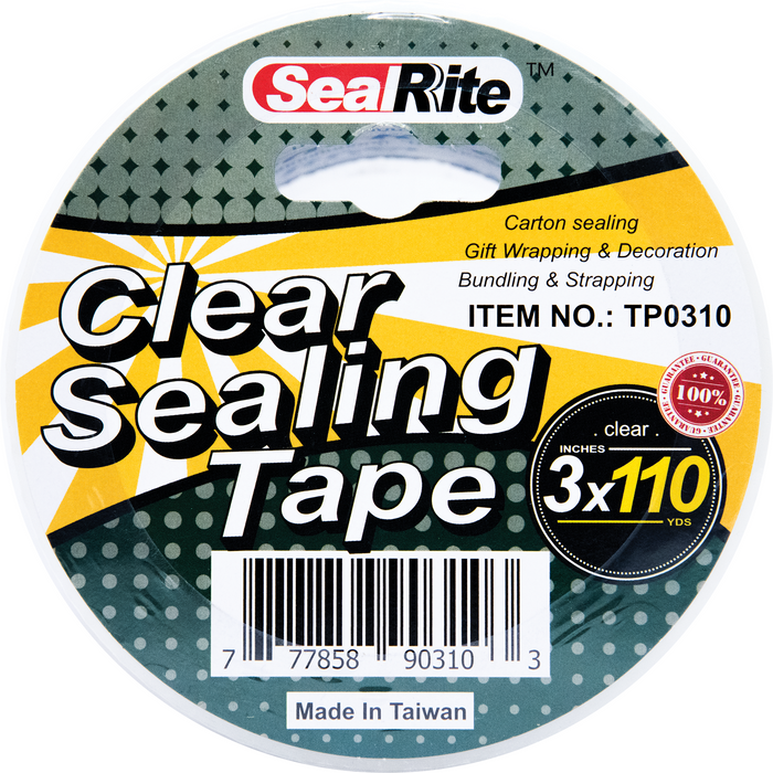 "SealRite Clear Sealing Tape 3"" x 110 Yards - Clear"