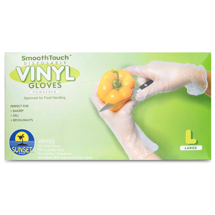 SmoothTouch Powdered Vinyl Gloves - White - Large - 100ct