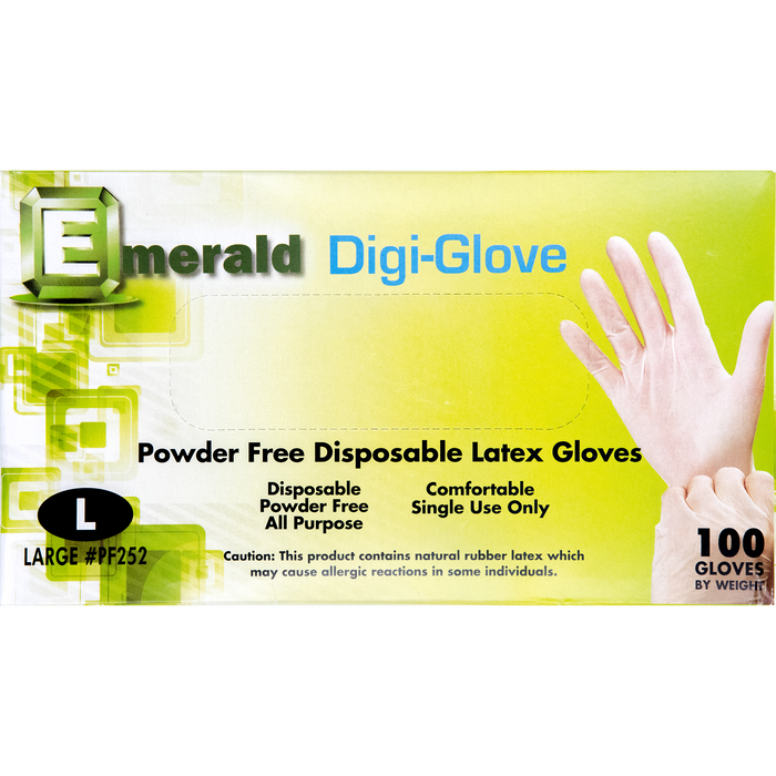 Emerald Powder-Free Disposable Latex Gloves - Ivory - 100ct
