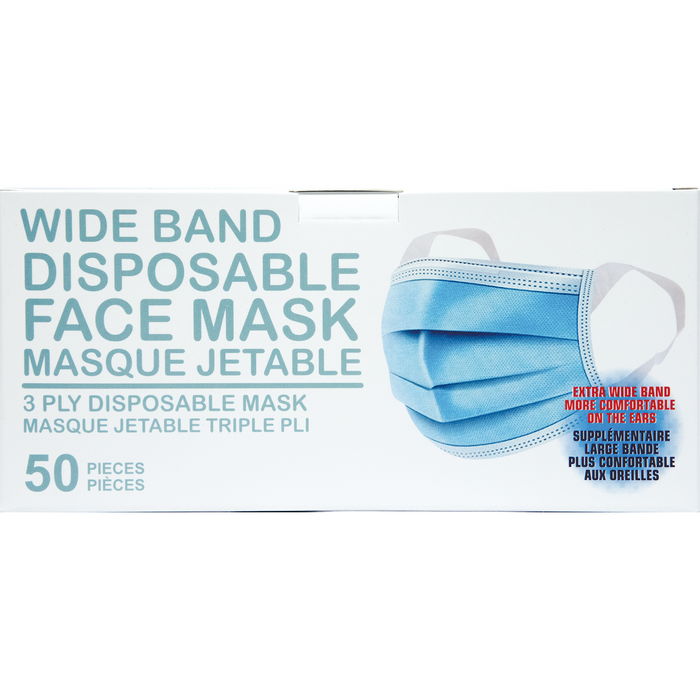 AllGoods Wide Band 3 Ply Disposable Face Masks - 50ct
