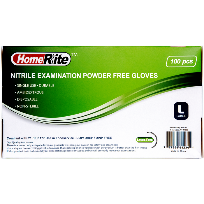 HomeRite Nitrile Examination Powder-Free Gloves - Blue - Large - 100ct