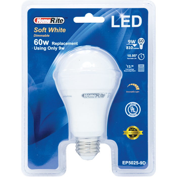 HomeRite 60 Watt Soft White Dimmable LED Light Bulb