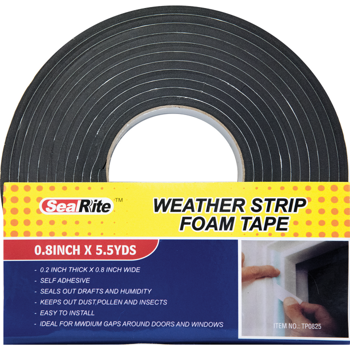 "SealRite Weather Strip Foam Tape 0.8"" x 5.5 Yards"