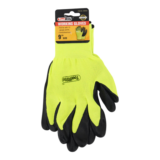 "9"" Ambidextrous Nitrile Working Gloves"