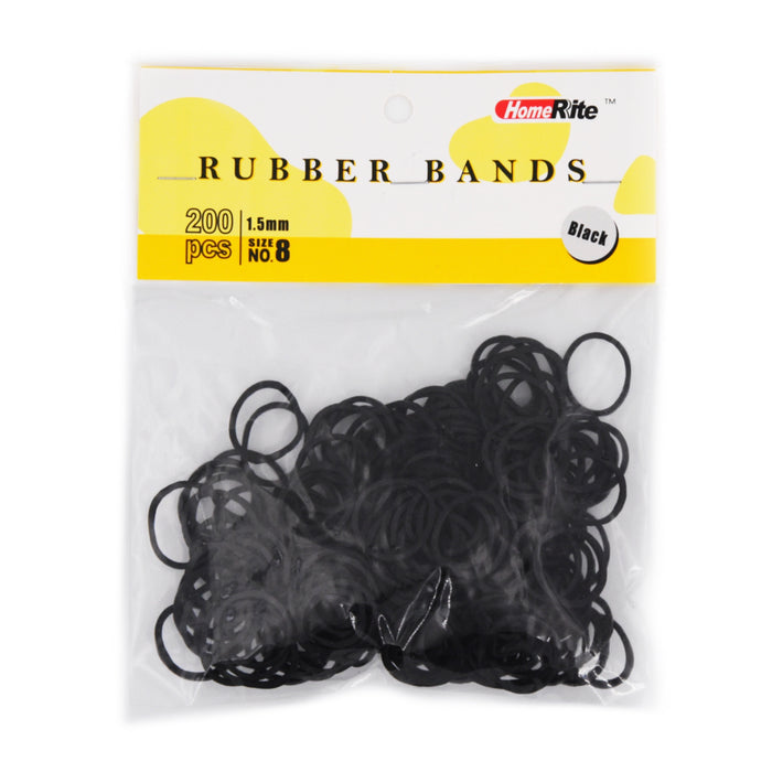 HomeRite 1.5mm Rubber Bands - 200pcs - Black