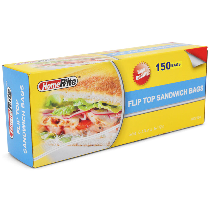 "HomeRite Flip Top Sandwich Bags - 6 1/4"" x 5 1/2"" - 150ct"