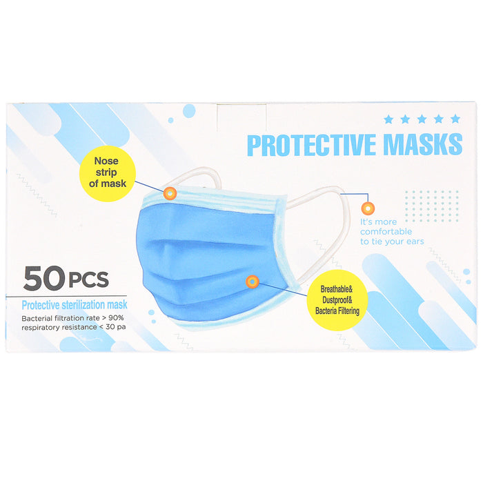 AllGoods Disposable Protective Face Masks - 50ct