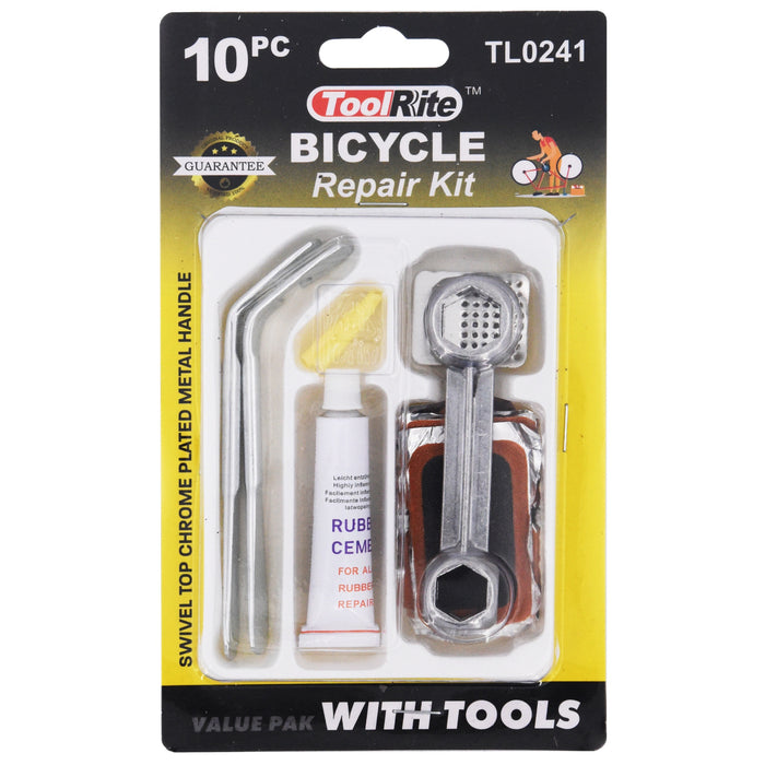 Bicycle Repair Kit with Tools - 10pcs Value Pack
