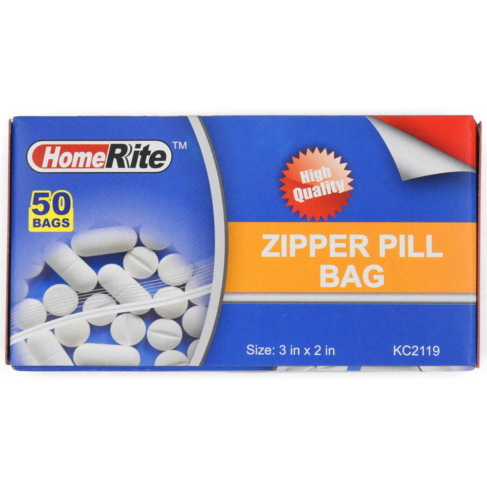 "HomeRite Zipper Pill Bag - 3"" x 2"" - 50ct"