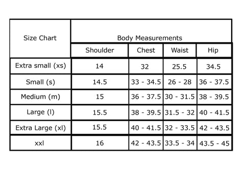 body measuremets size chart