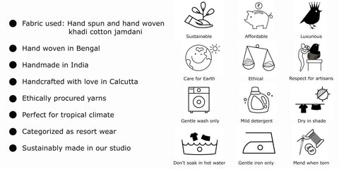 wash care for hand spun and hand woven textile garments.