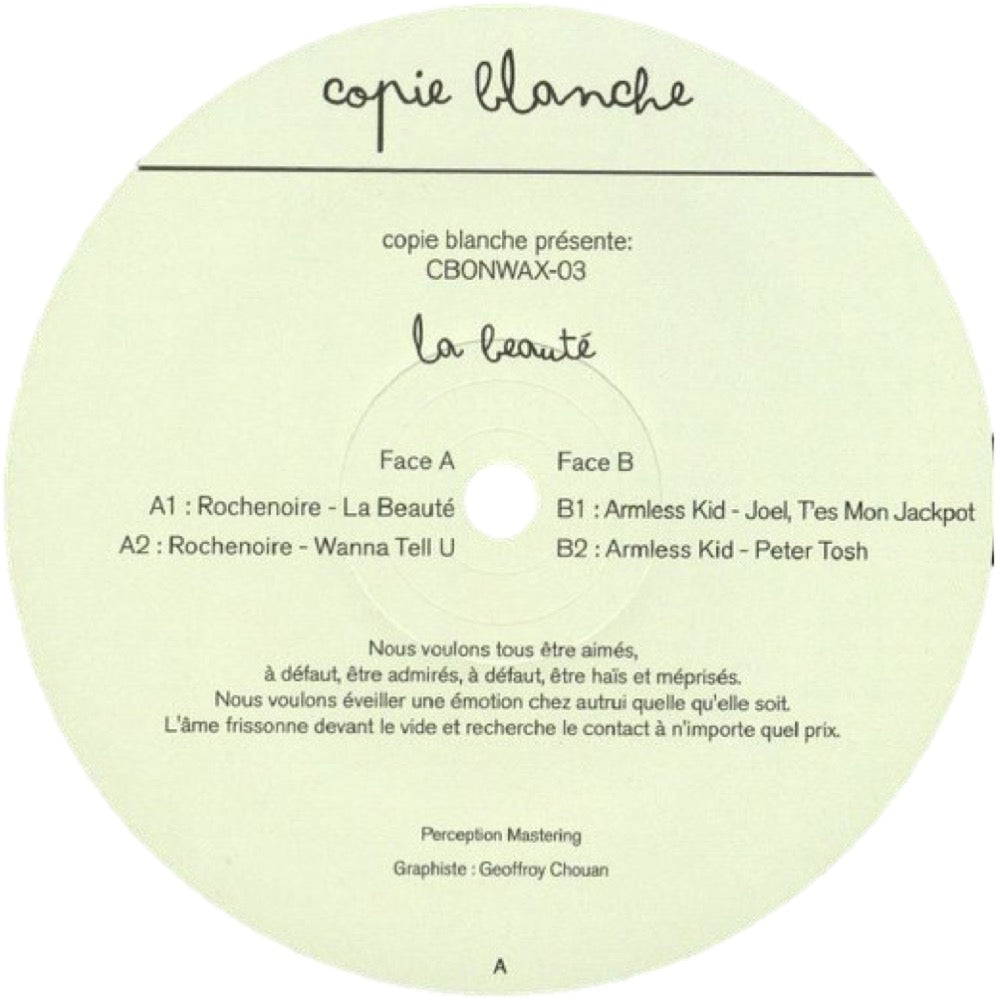Rochenoire, Armless Kid ‎– La Beauté CBONWAX003 front label