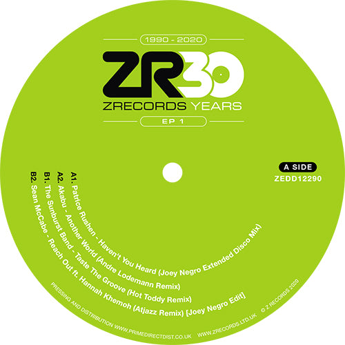 Joey Negro - 30 Years of Z Records – EP 1 front label
