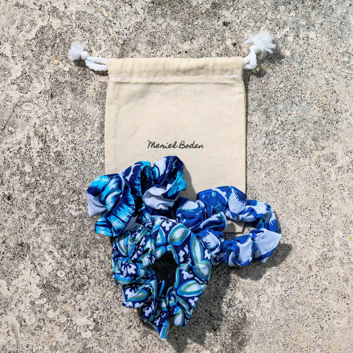 Hues-of-Blue Scrunchie-Bunch
